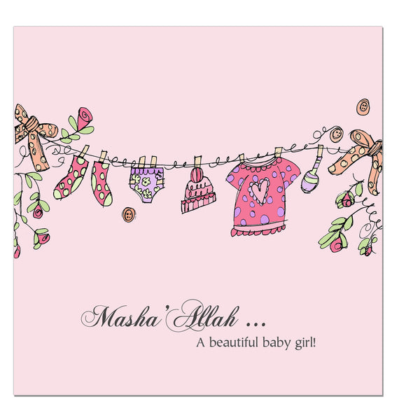 CD 06 - Baby Girl - Pink Clothes Line - Islamic Moments