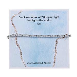 Silver Coloured Bracelet With Zircon - JY 04 Blue