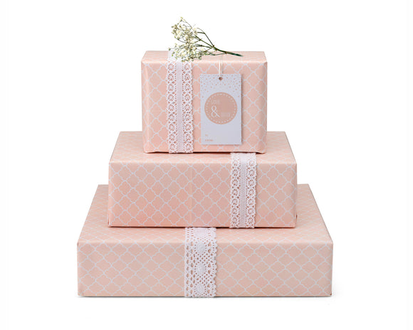 GW 03 -  Love & Du'as Gift Wrap and Tag - Blush