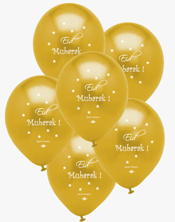 Gold Eid Mubarak Balloons - Islamic Moments