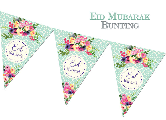 FEB 07 - Eid Mubarak Bunting - Green - Islamic Moments