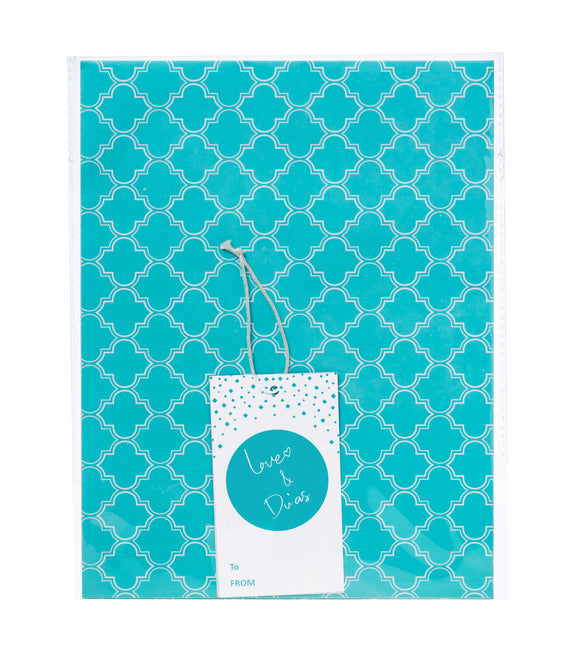 GW 02 -  Love & Du'as Gift Wrap and Tag - Aqua
