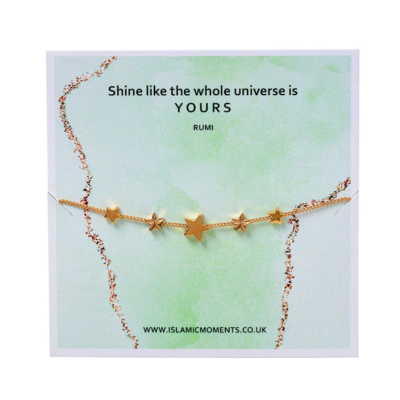 Rose Gold Coloured Bracelet With Stars - JY 02 Green