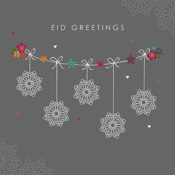 HE 08 - Eid Greetings - Hello Eid - Grey Geo Bunting - Islamic Moments