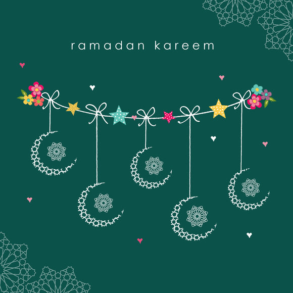 HE 09 - Ramadan Kareem - Hello Eid - Green Crescent Bunting - Islamic Moments