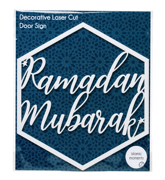 LCA 02  - Ramadan Mubarak Laser Cut Hanging Door Sign