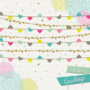 IR 08 - Eid Greetings - Iris - Hearts Bunting - Islamic Moments