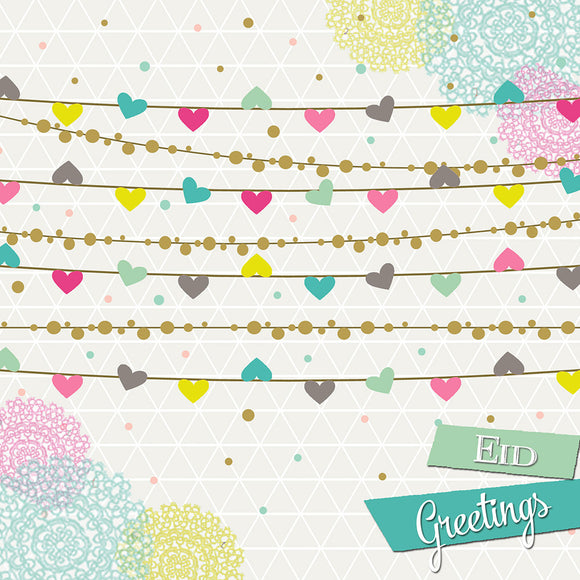 IR 08 - Eid Greetings - Iris - Hearts Bunting