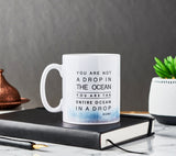 "Ceramic Mug with Rummi Quote ""Drop in the ocean..."" - MGR 01"