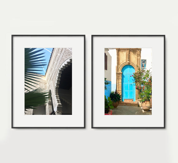 Moroccan Palm & Door in Blue Set - Home Decor - PT 32