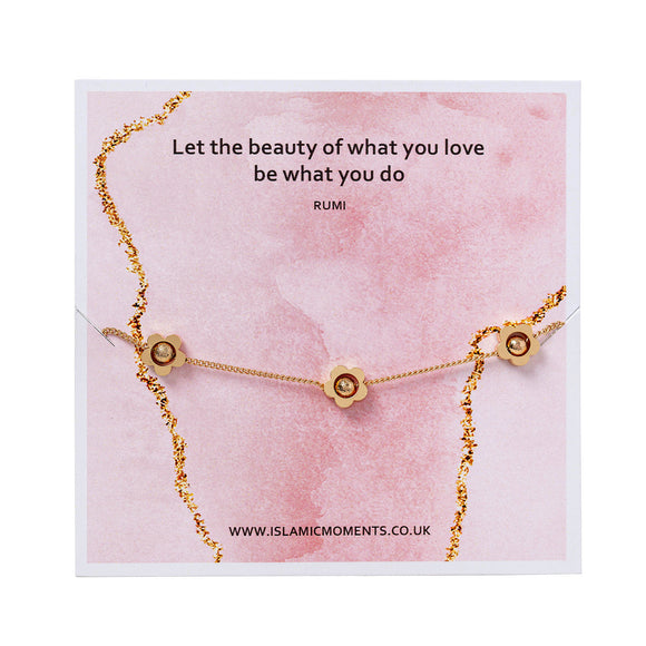 Rose Gold Coloured Bracelet With Flowers - JY 01 Pink