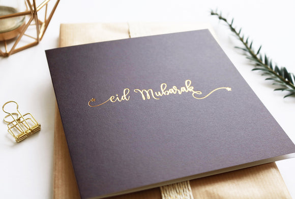 RC 06 - Eid Mubarak - Rose & Co - Gold Foiled - Grey - Islamic Moments