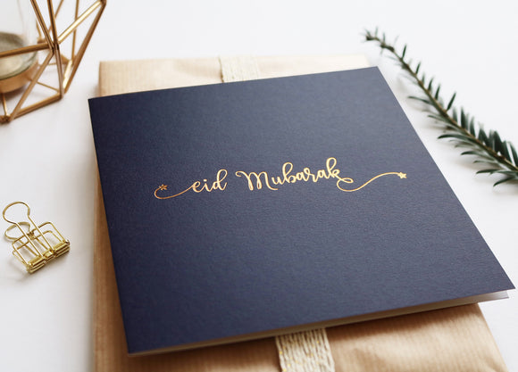 RC 07 - Eid Mubarak - Rose & Co - Gold Foiled - Navy - Islamic Moments