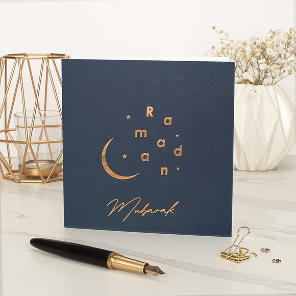 Ramadan Mubarak Gold Foiled Greeting Card in Navy Blue - RC 21