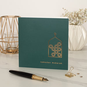 Ramadan Mubarak Gold Foiled Greeting Card in Forest Green - RC 23