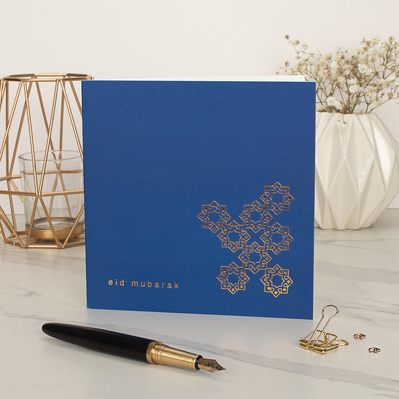Eid Mubarak Gold Foiled Greeting Card in Cobalt Blue - RC 27