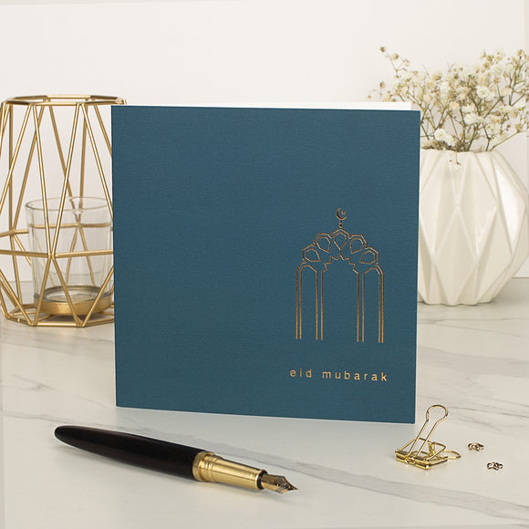Eid Mubarak Gold Foiled Greeting Card in Petrol Blue - RC 28