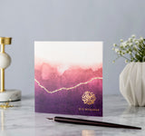 Eid Mubarak Gold Foiled Greeting Card in Burgundy Ombré - RC 14
