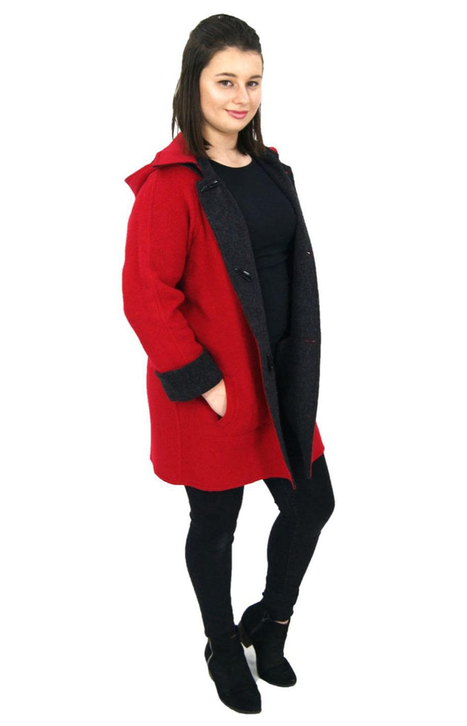 Red and Charcoal Alpaca Duffle Coat