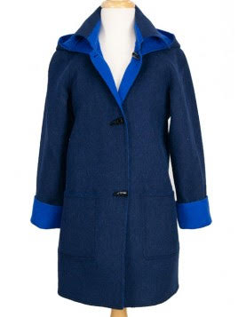 Navy Bright Blue duffle Coat Little Alpaca
