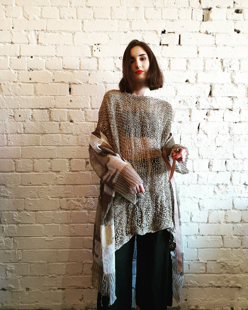 Hand Loom Linen Amano top by Lorena Laing