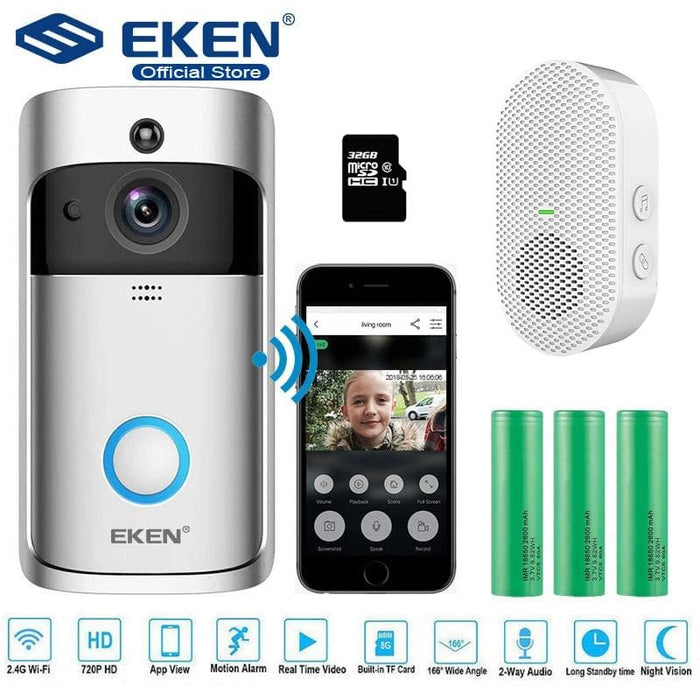 EKEN V5 Video Doorbell Smart Wireless WiFi Security Door Bell Visual Recording-LuxylGroup, Inc.