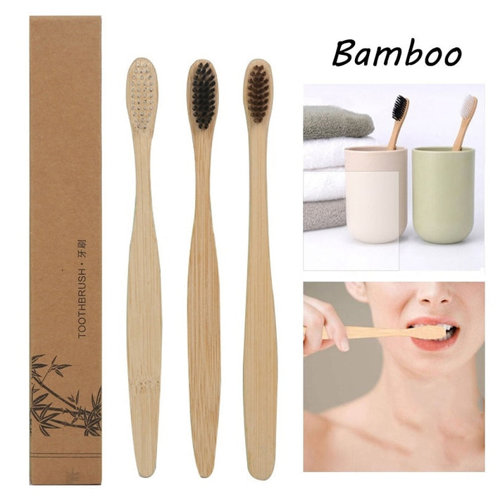 Natural Bamboo Handle Rainbow Whitening Soft Bristle-LuxylGroup, Inc.