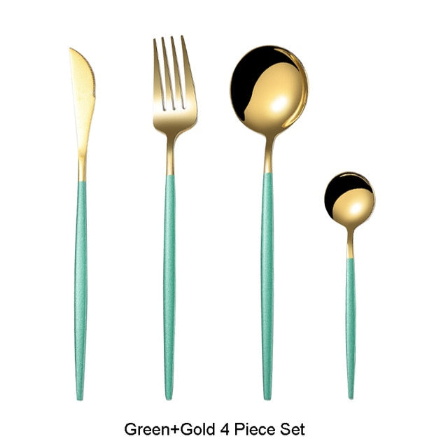 4Pcs/set Black Gold Cutlery Set 18/10 Stainless Steel Dinnerware Silverware Flatware Set-LuxylGroup, Inc.