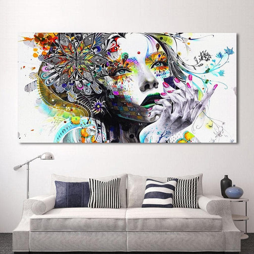 Modern Canvas Art Girl With Flowers Pictures - LuxylGroup