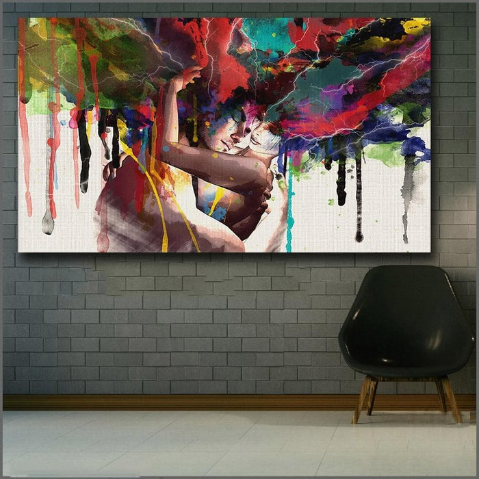 Love Kiss Oil Painting Canvas Art-Canvas Printings-LuxylGroup, Inc.
