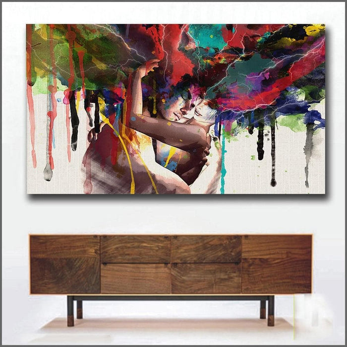 Love Kiss Oil Painting Canvas Art - LuxylGroup