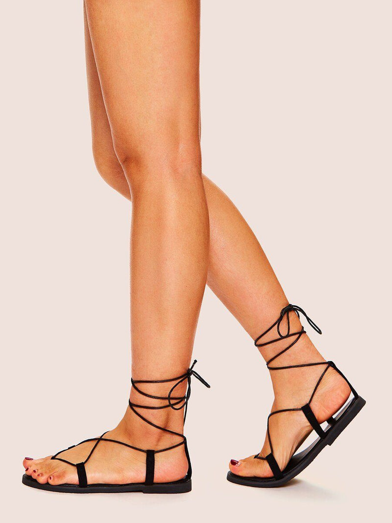 Toe Post Lace-Up Flat Sandals