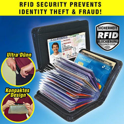Black Leather Fraud Protector Card Case
