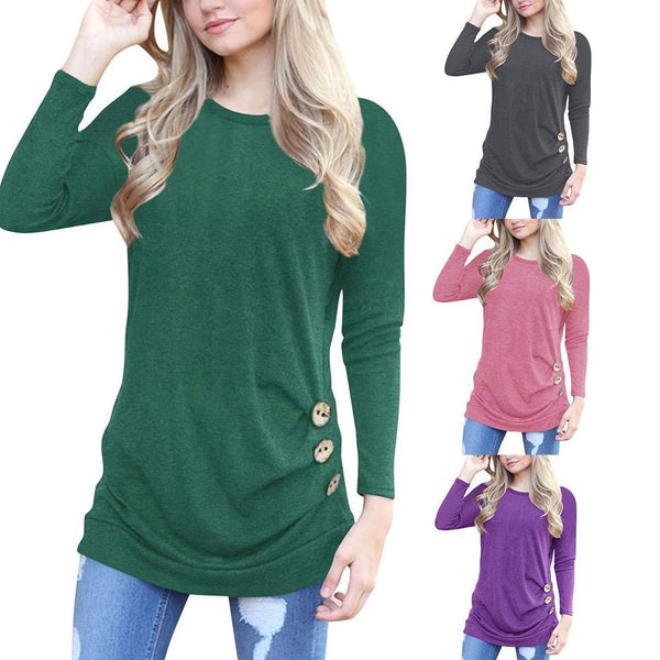 Women's Casual Long Sleeve Round Neck Shirt