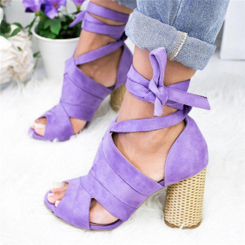 Casual Solid Color Lace Up High Heel Sandals
