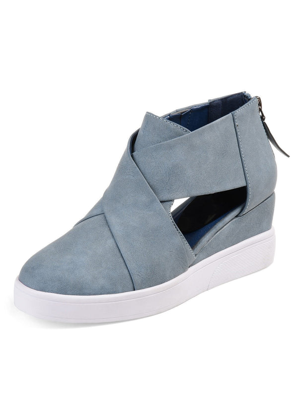 Women Spring Cut Out Ankle Boots Wedge Sneakers Plus Size Shoes