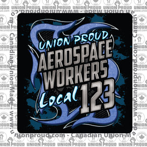 Aerospace Worker Blue Metal Decal