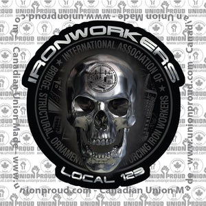 Ironworkers Chrome Skull Decal