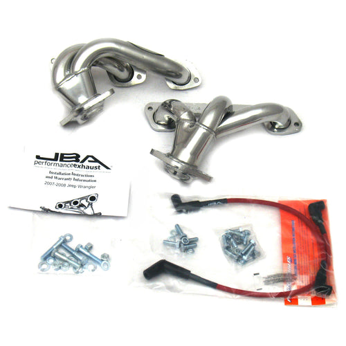"JBA Performance Exhaust 1528SJS 1 1/2"" Header Shorty Stainless Steel 07-11 Jeep 3.8L Silver Ceramic"