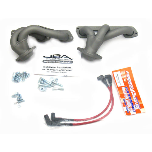 "JBA Performance Exhaust 1528SJT 1 1/2"" Header Shorty Stainless Steel 07-11 Jeep 3.8L Titanium Ceramic"