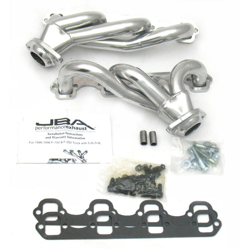 "JBA Performance Exhaust 1627SJS 1 1/2"" Header Shorty Stainless Steel 87-95 Ford Truck 5.0L Silver Ceramic"