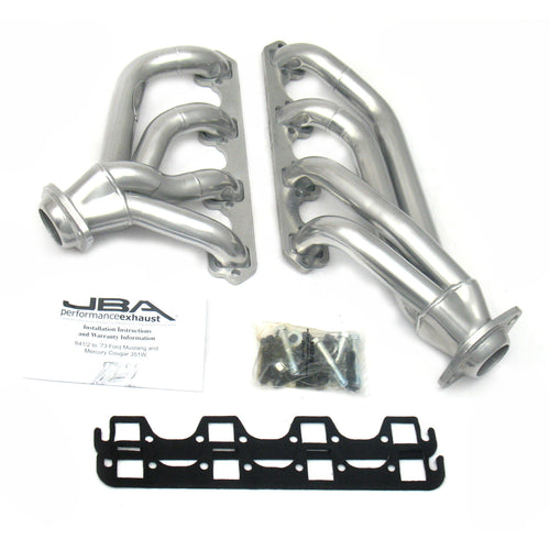 "JBA Performance Exhaust 1653SJS 1 5/8"" Header Shorty Stainless Steel 65-73 Mustang 351W Silver Ceramic"