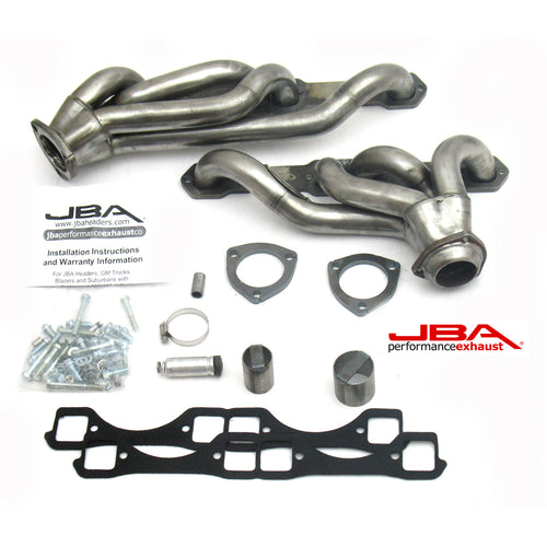 "JBA Performance Exhaust 1830S-6 1 5/8"" Header Shorty Stainless Steel GM Truck 5.0/5.7L with Carburetor"