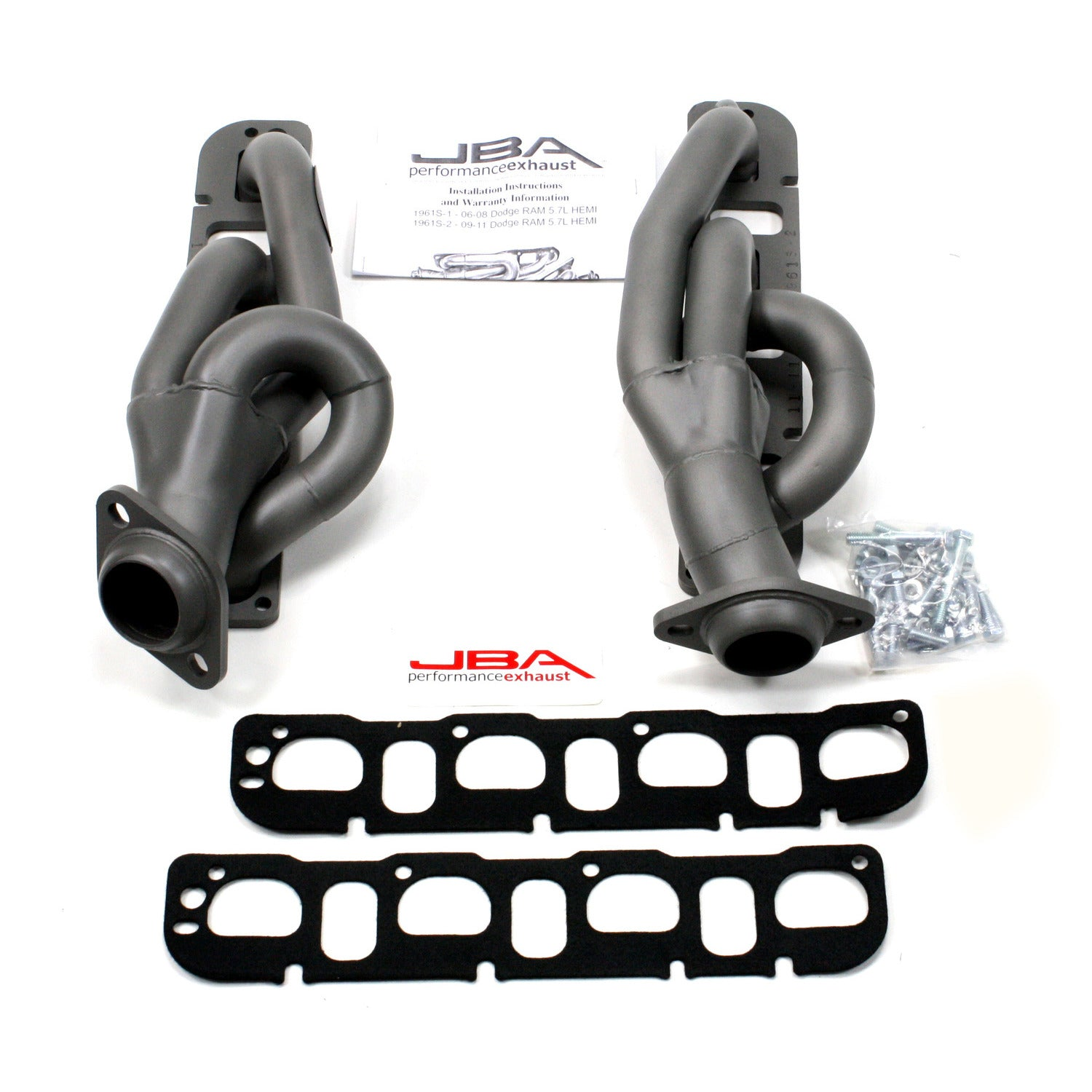 "JBA Performance Exhaust 1961S-2JT 1 5/8"" Header Shorty Stainless Steel 09-18 Ram 5.7L Hemi 1500 2&4 Wheel Drive Titanium Ceramic"