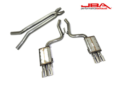 "JBA Performance Exhaust 40-2647 Stainless Steel Exhaust System 2018-2020 Mustang 5.0 2 1/2""-3"" Cat Back Exhaust w/X-pipe and four 4"" double wall tips"