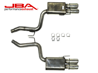 "JBA Performance Exhaust 40-2687 Stainless Steel Exhaust System 2018-2020 Mustang 5.0 2 1/2"" to 3"" Axle Back Exhaust with four 4"" double wall tips"
