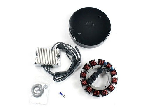 Spyke 425210 - 32 Amp. Chrome Charging Kit with Voltage Regulator for 70-99 Big Twin Harley® Models (Except Twin Cam)