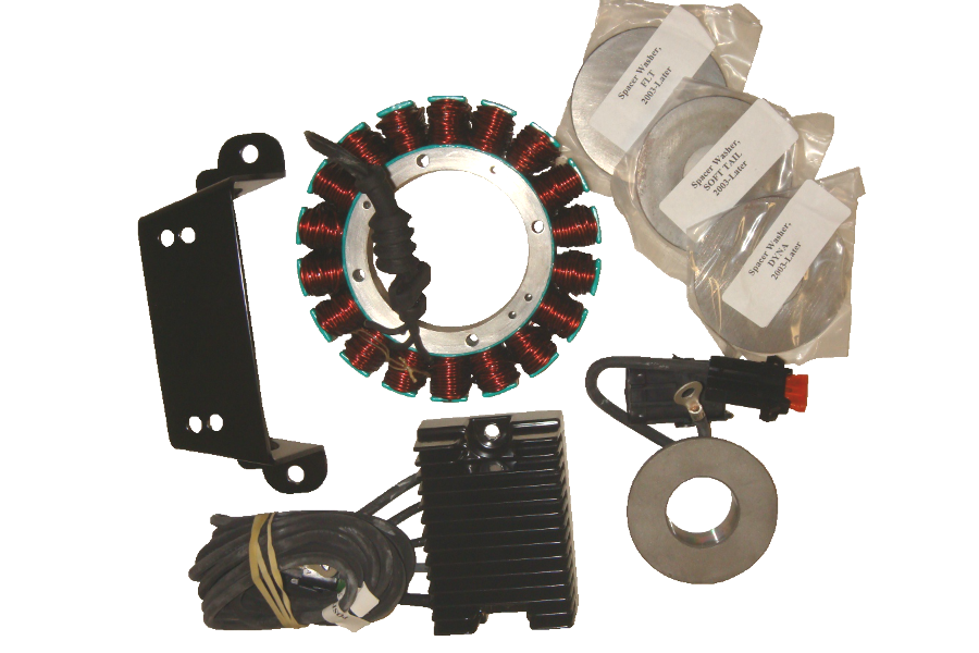 Compu-Fire 55565 - Charging System Kit with Vented Rotor for 03-06 Twin Cam Harley® Models (Except 2006 Dyna)