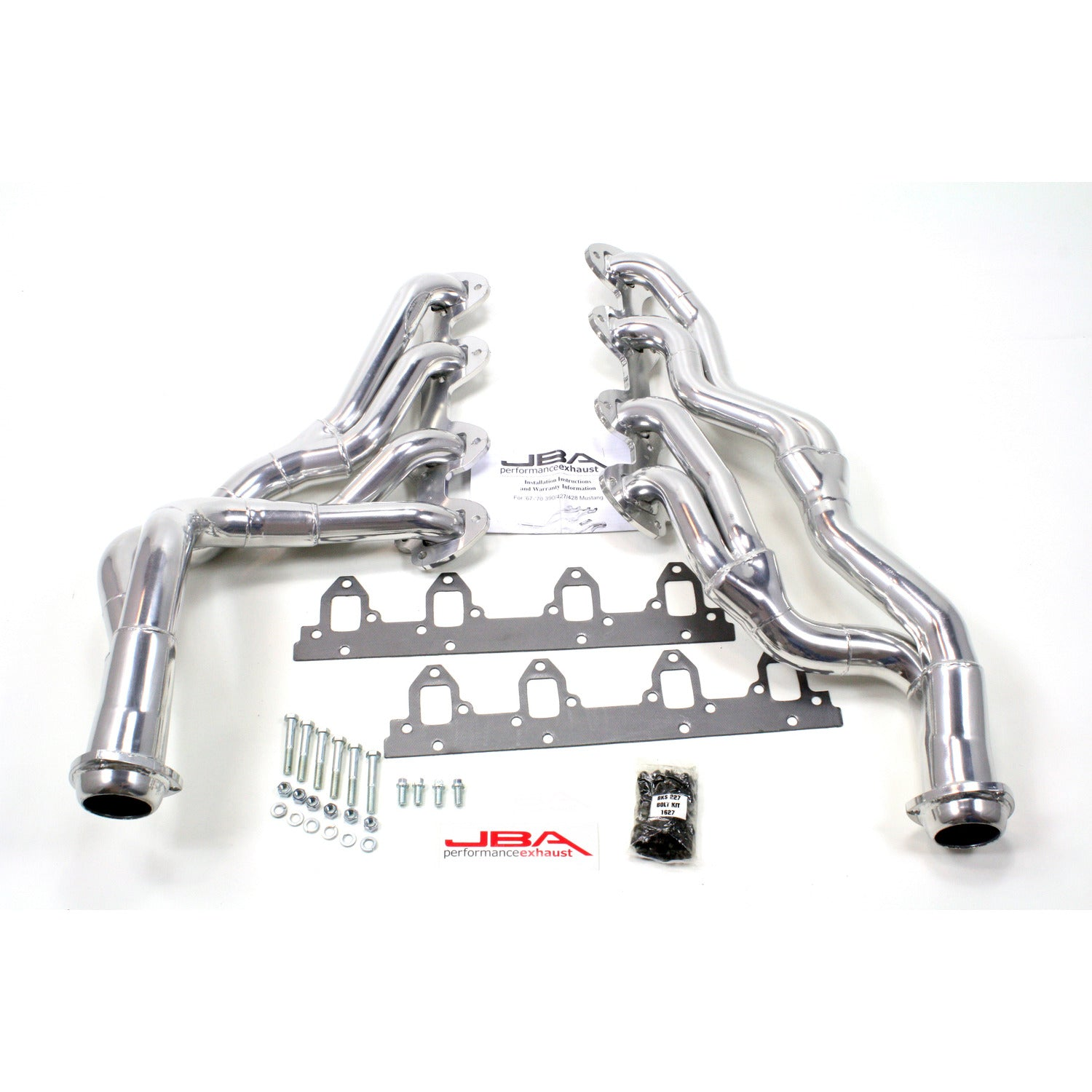 "JBA Performance Exhaust 6655SJS 1 3/4"" Header Long Tube Stainless Steel 67-70 Mustang 390/427/428 Cobra Jet Silver Ceramic"