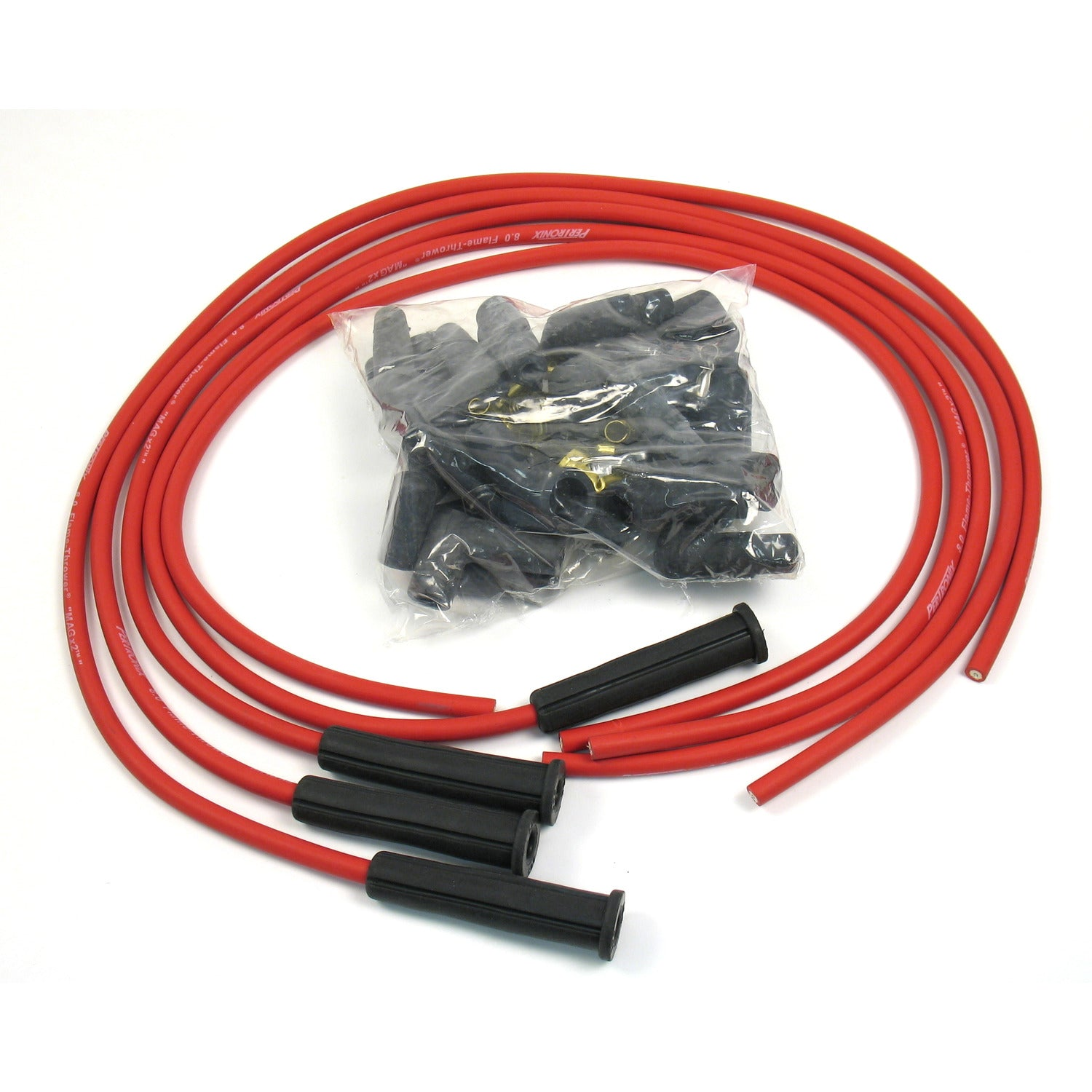 PerTronix 804480 Flame-Thrower Spark Plug Wires 4 cyl 8mm Universal 180 Degree Red